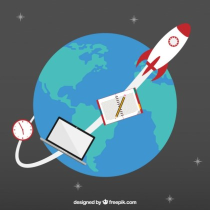 Space Rocket Orbiting Around The Earth Free Vector