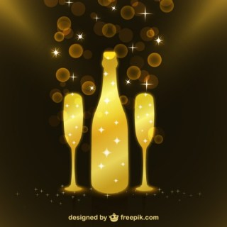 Sparkly Bottle of Champagne with Glasses Free Vector