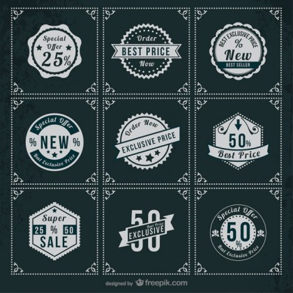 Special Offer Retro Stickers Free Vector