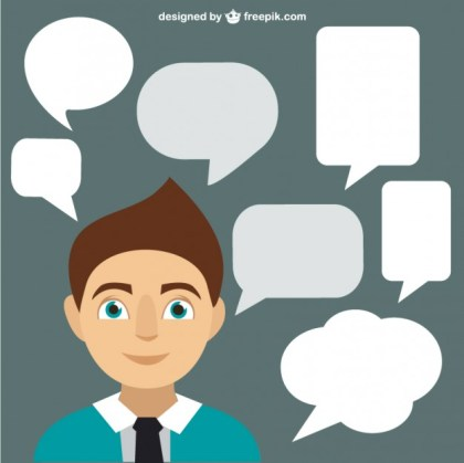 Speech Bubbles and Man Free Vector