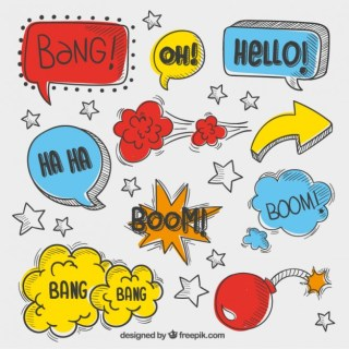 Speech Bubbles in Sketchy Style Free Vector