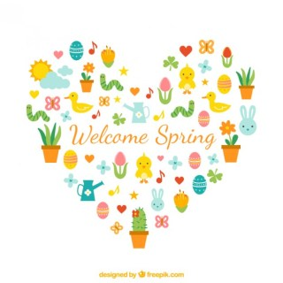 Spring Background with a Heart Free Vector