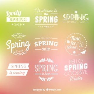 Spring Badges Collection Free Vector