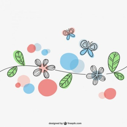Spring Flowers and Butterflies Free Vector