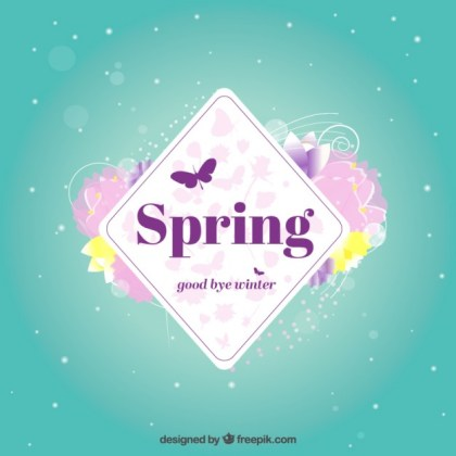 Spring Label with Flowers Free Vector
