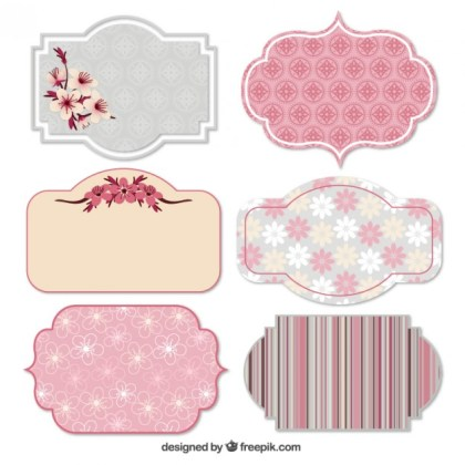 Spring Labels in Pink Tones Free Vector