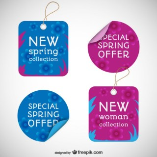 Spring Offer Tags Free Vector