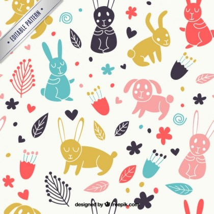 Spring Pattern with Animals and Flowers Free Vector