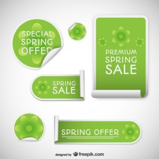Spring Sales Tags Free Vector