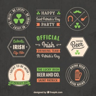 St Patrick Badges in Blackboard Style Free Vector