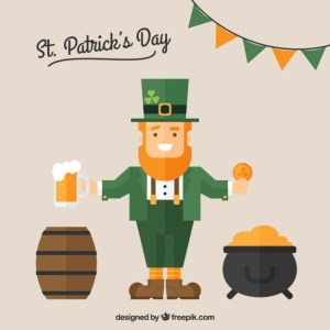 St Patrick Card with a Leprechaun Free Vector