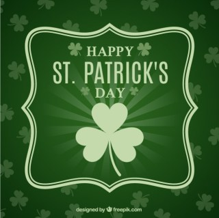 St Patricks Day Card in Green Tone Free Vector
