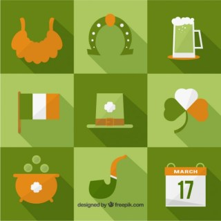 St Patricks Day Icons Collection Free Vector