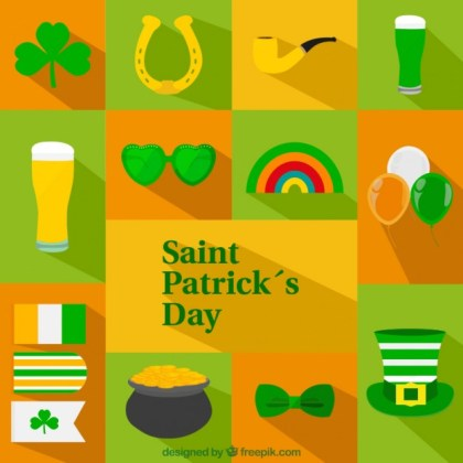 St Patricks Day Icons Free Vector