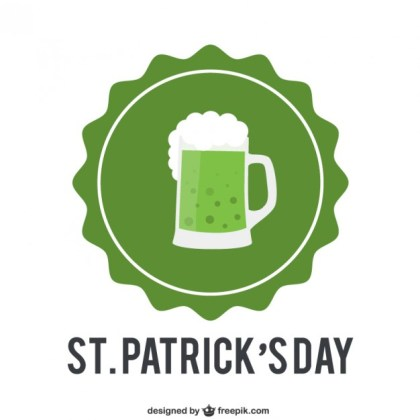 St Patricks Day Label with a Beer Free Vector