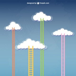 Stairway To Clouds Free Vector