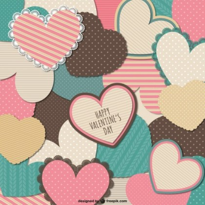Stationery Valentine Hearts Card Free Vector