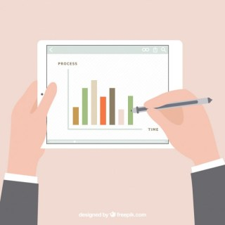 Statistics Diagram on Tablet Free Vector