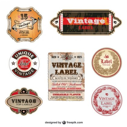 Stylish Vintage Labels Free Vector