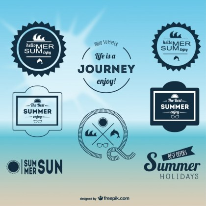 Summer Emblems Set Free Vector