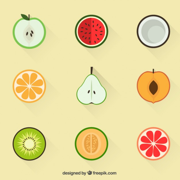 Summer Fruit Icons Free Vector