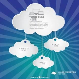 Sunburst Cloud Computing Art Free Vector