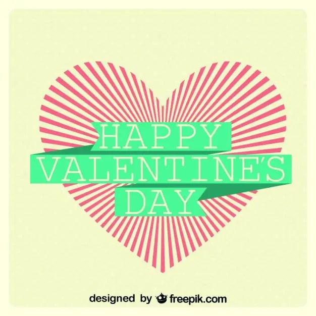 Sunburst Heart Valentines Day Card Design Free Vector