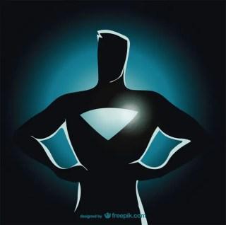 Superhero Standing Silhouette Free Vector