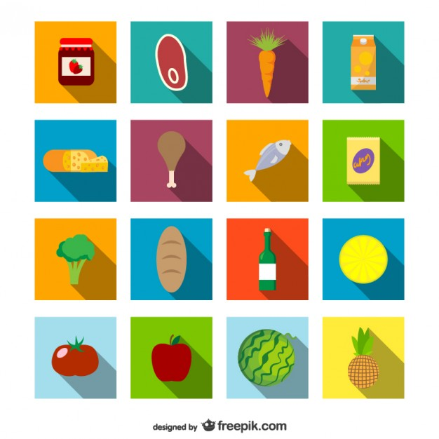 Supermarket Food Icons Set Free Vector