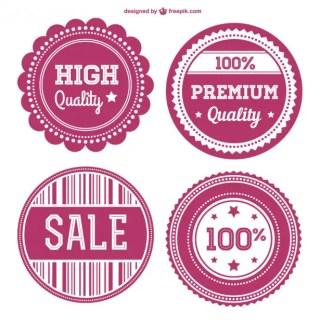 Sweet Pink Retro Badges Free Vector
