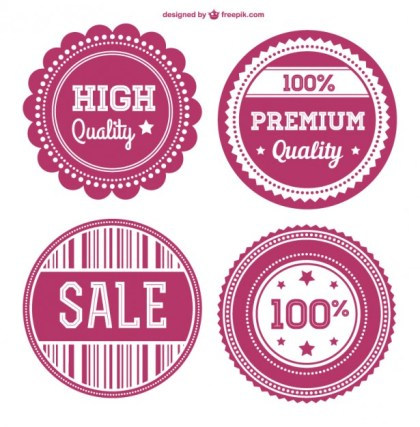 Sweet Pink Retro Badges Free Vector