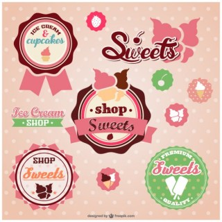 Sweets Shop Retro Stickers Free Vector