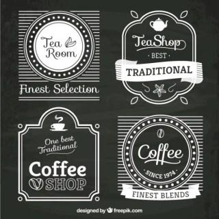 Tea and Coffee Shop Logos Free Vector