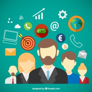 Teamwork with Business Icons Free Vector
