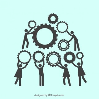 Teamwork with Gears Free Vector