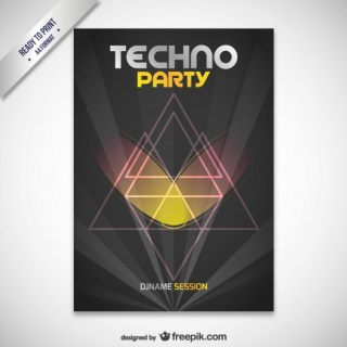 Techno Party Poster Free Vector