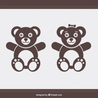 Teddy Bear Couple Free Vector