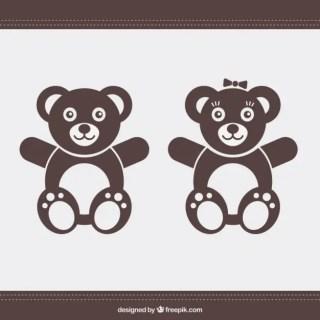 Teddy Bear Couple Free Vector