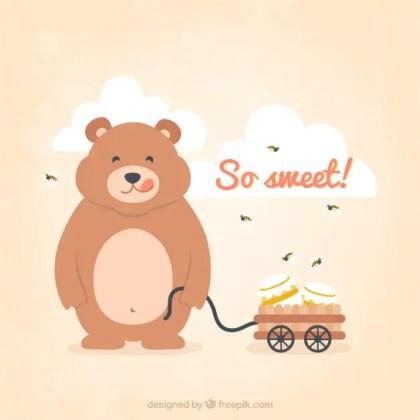 Teddy Bear with Honey Jar Free Vector