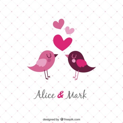 Template Wedding Invitation with Birds Free Vector