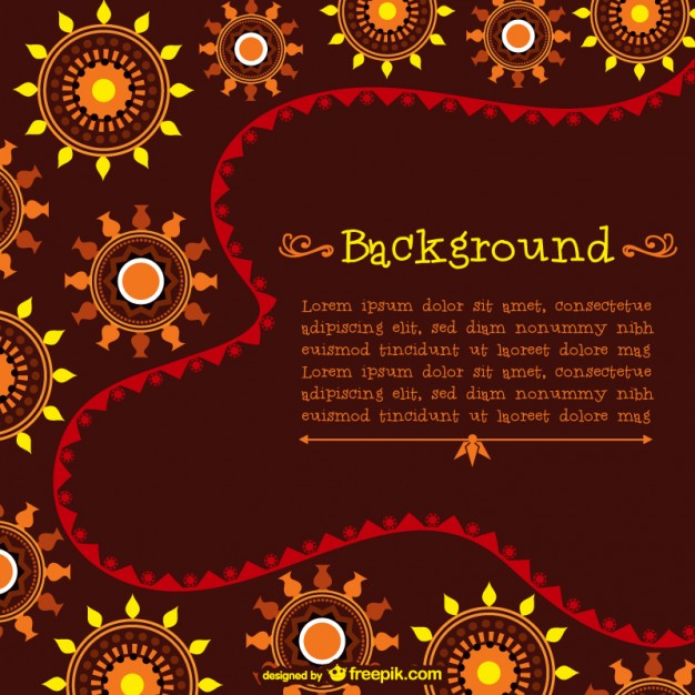 Template with African Pattern Free Vector