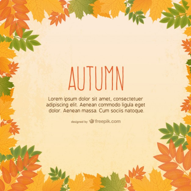 Template with Autumn Leaves Free Vector