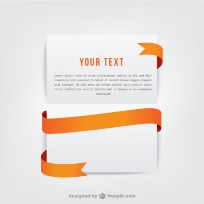 Template with Orange Ribbon Free Vector