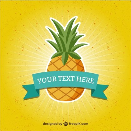 Template with Pineapple Free Vector