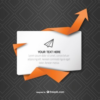 Text Box with Origami Arrow Free Vector