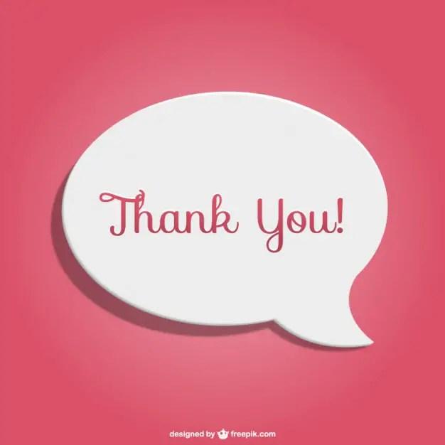Thank You Speech Bubble Free Vector