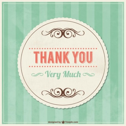 Thank You Vintage Card with Ornaments Free Vector