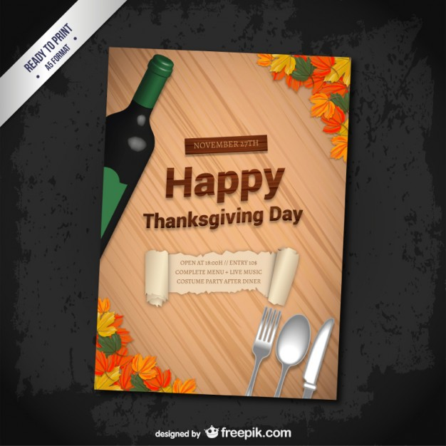 Thanksgiving Day Poster Template Free Vector