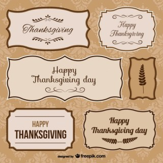 Thanksgiving Day Stickers Free Vector