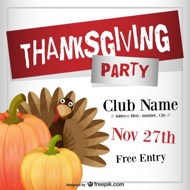 Thanksgiving Party Flyer Template Free Vector